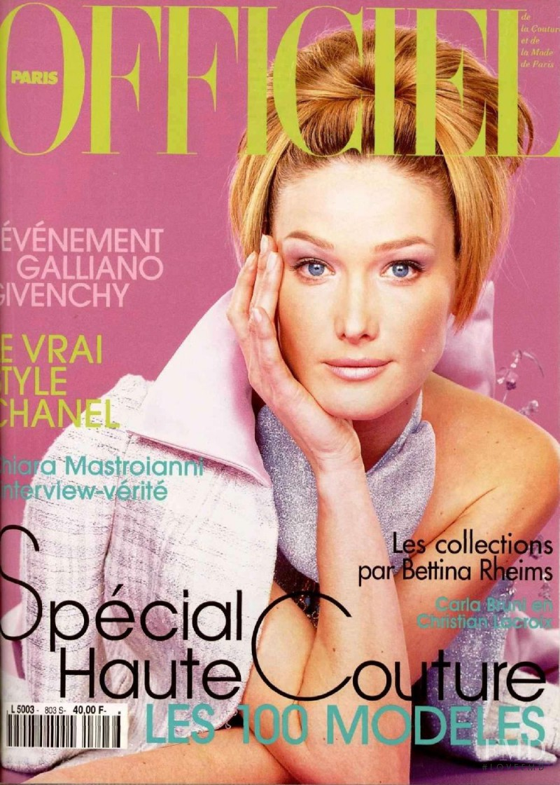 Carla Bruni featured on the L\'Officiel France cover from March 1996