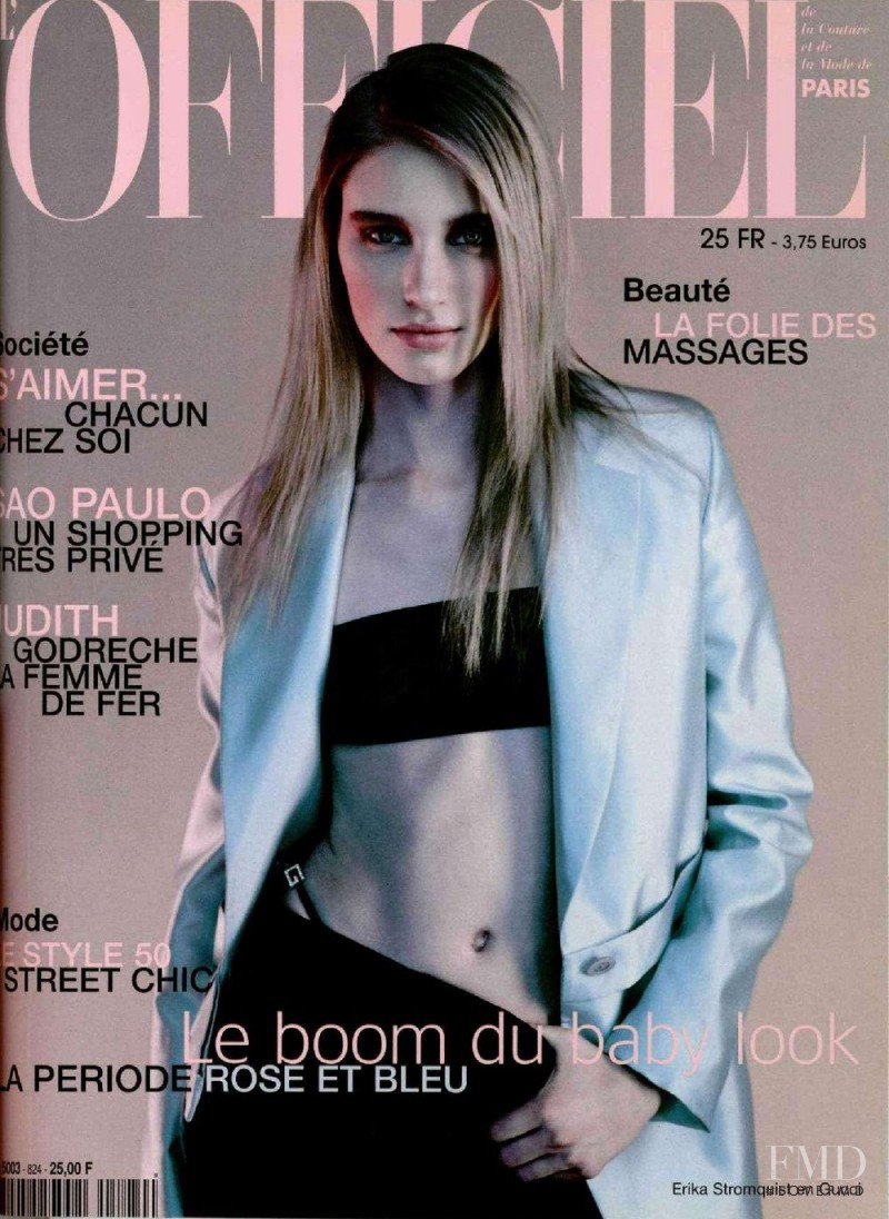 Erika Stromqvist featured on the L\'Officiel France cover from April 1998