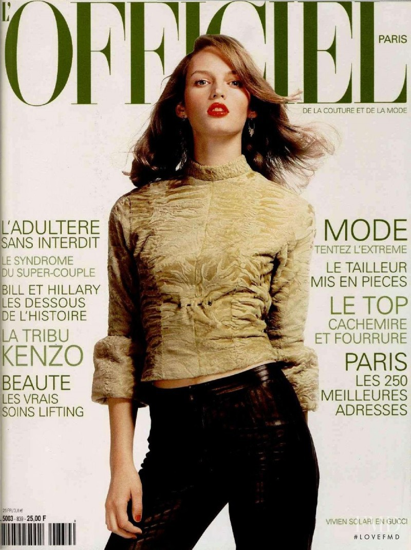 Vivien Solari featured on the L\'Officiel France cover from October 1999
