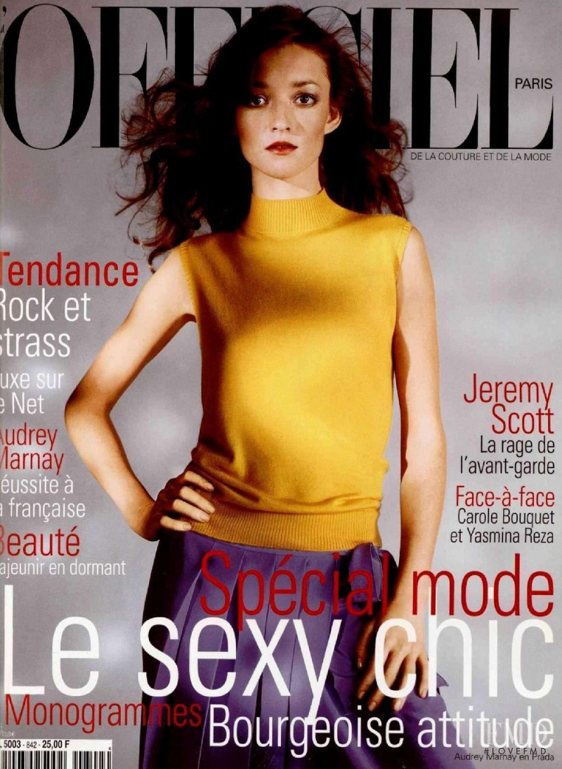 Audrey Marnay featured on the L\'Officiel France cover from February 2000