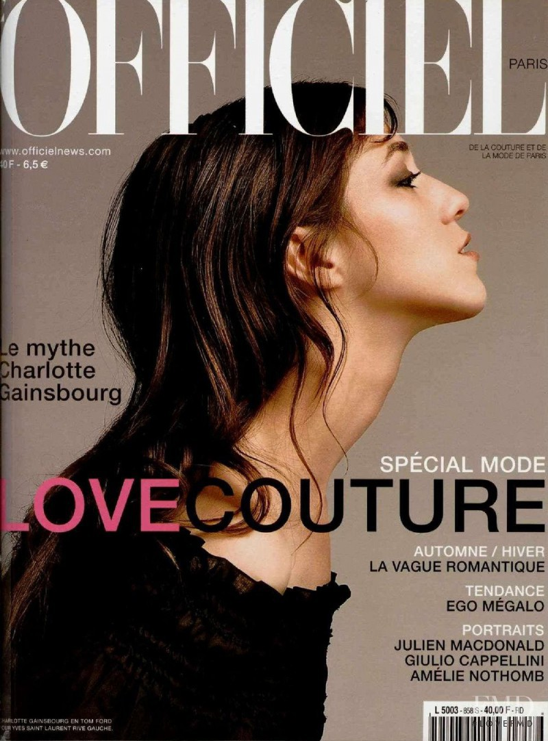 Charlotte Gainsbourg featured on the L\'Officiel France cover from September 2001