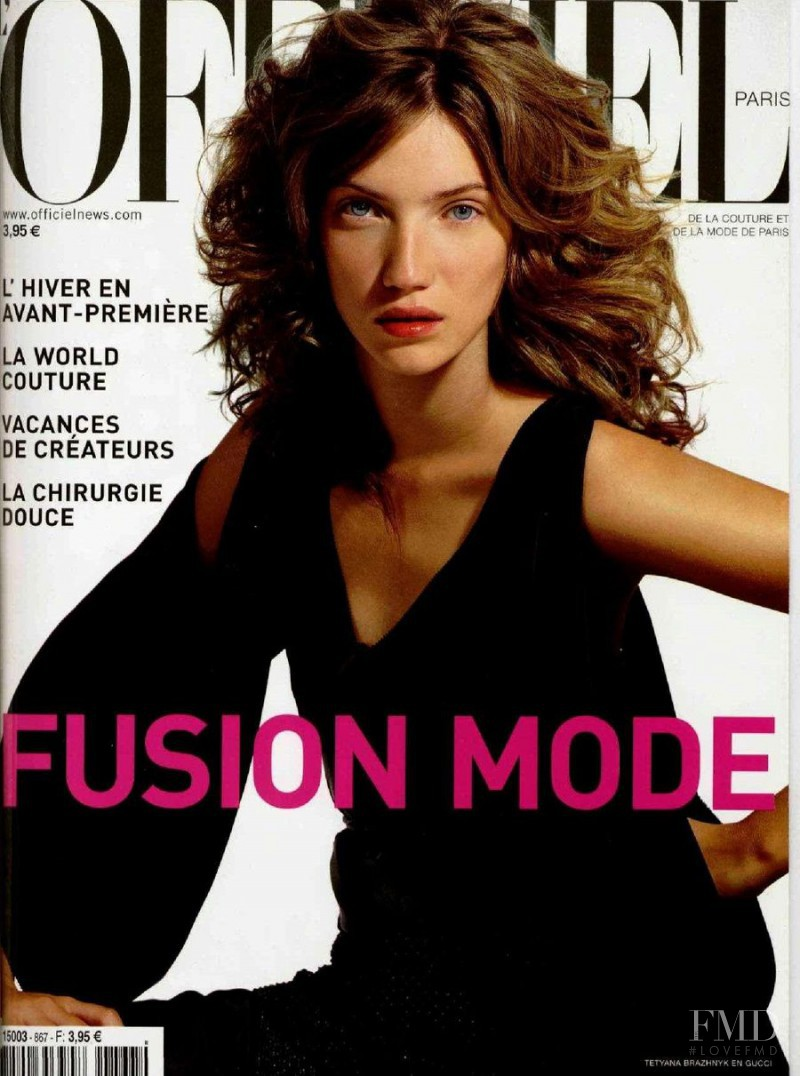 Tetyana Brazhnyk featured on the L\'Officiel France cover from August 2002