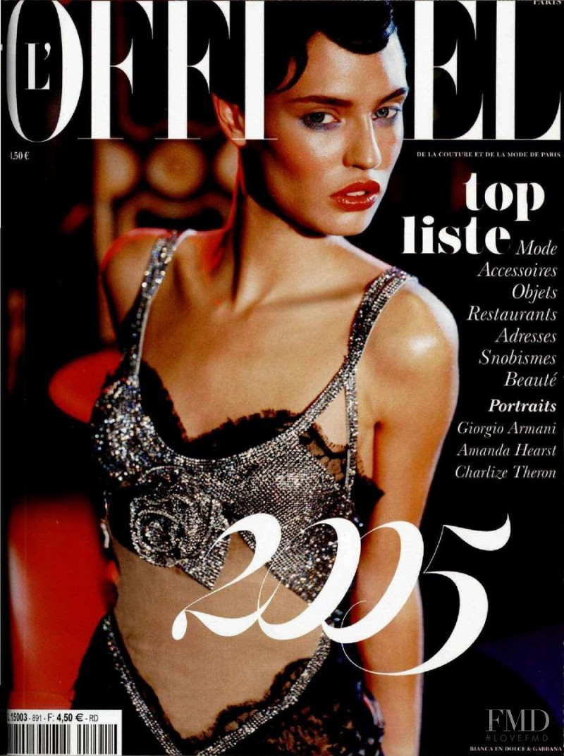 Bianca Balti featured on the L\'Officiel France cover from December 2004