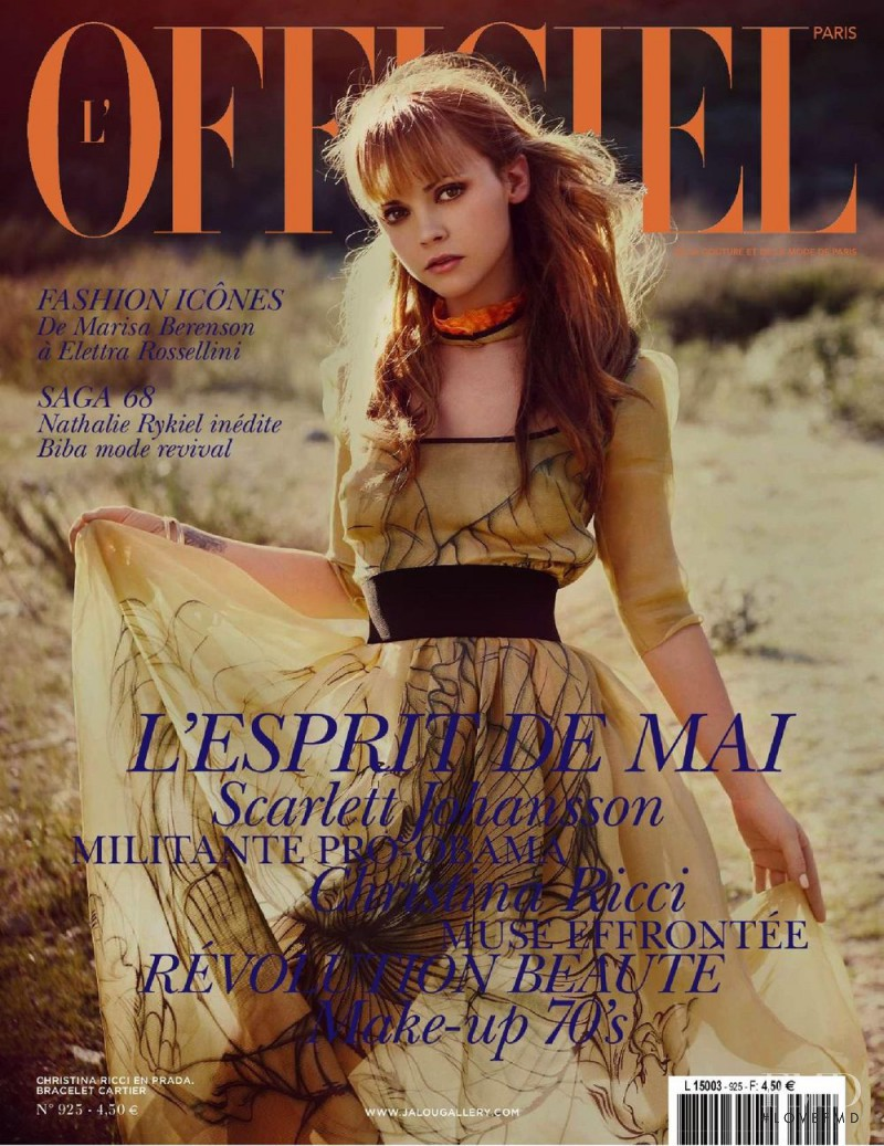 Christina Ricci featured on the L\'Officiel France cover from May 2008