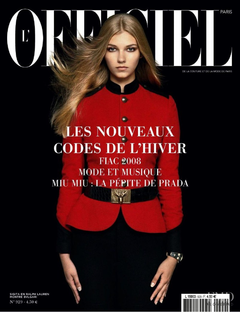 Sigita Nedzvecka featured on the L\'Officiel France cover from October 2008