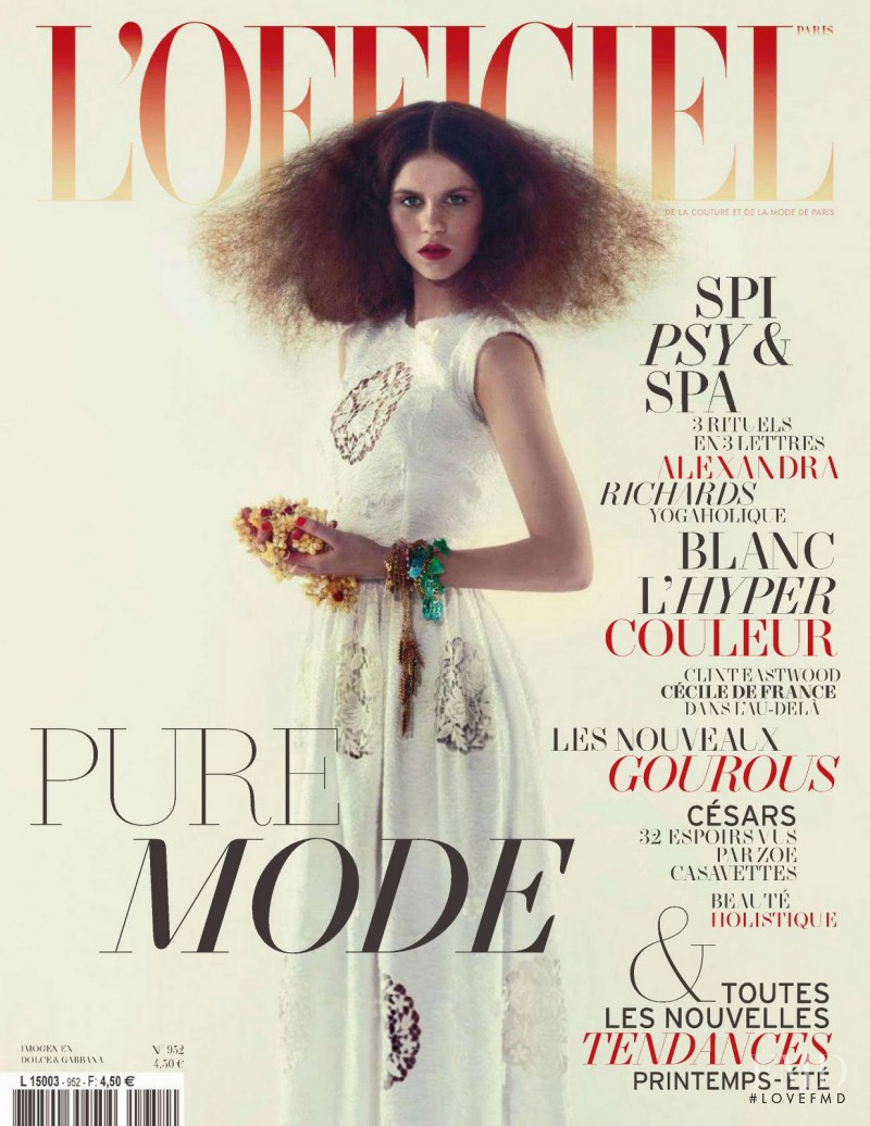 Imogen Newton featured on the L\'Officiel France cover from February 2011