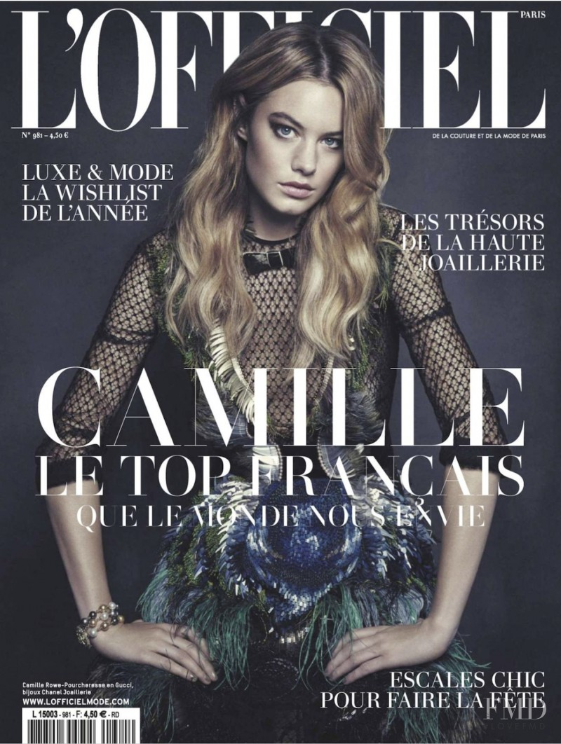 Camille Rowe featured on the L\'Officiel France cover from December 2013