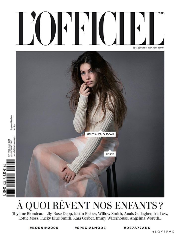Thylane Blondeau featured on the L\'Officiel France cover from March 2016