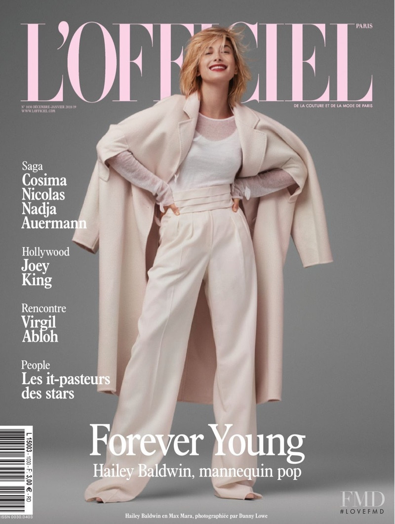 Hailey Baldwin featured on the L\'Officiel France cover from December 2018