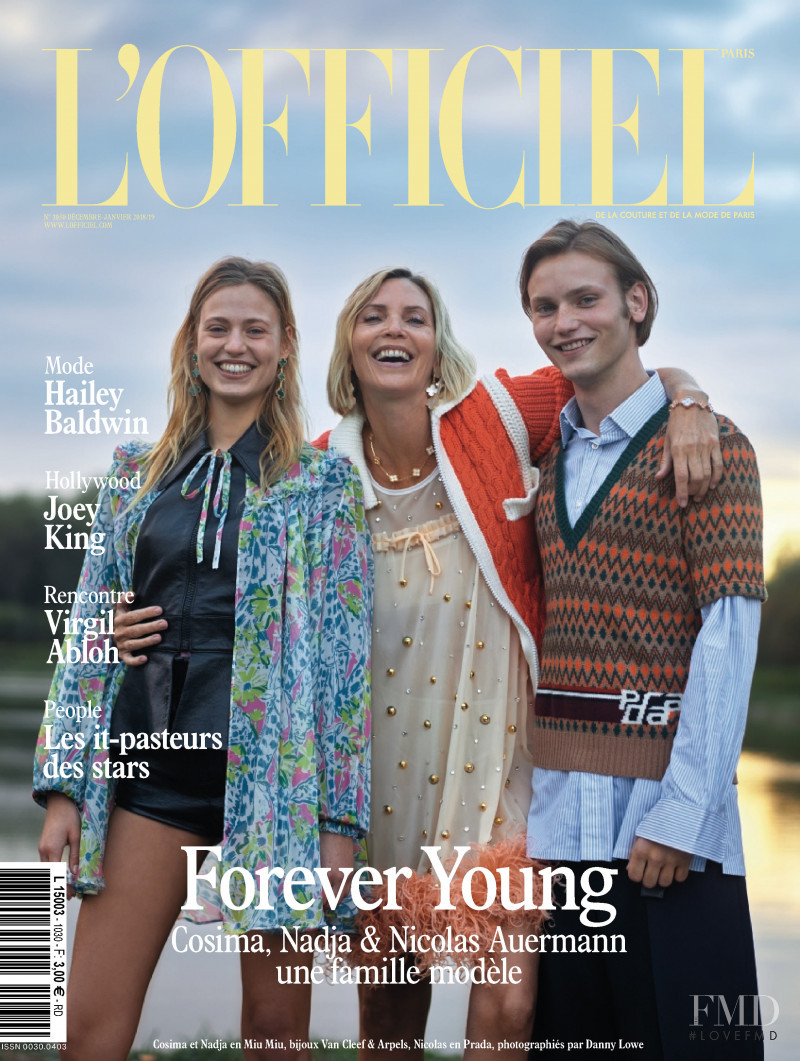 Nadja Auermann featured on the L\'Officiel France cover from December 2018