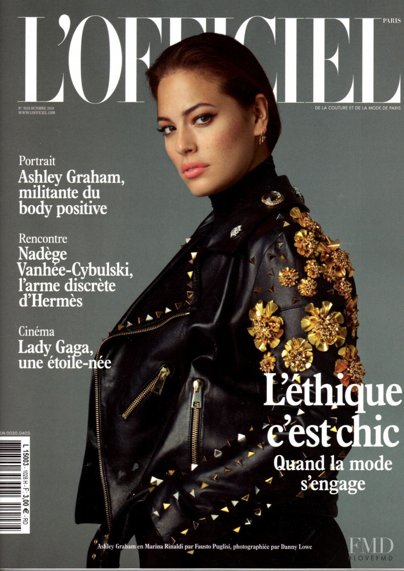 Ashley Graham featured on the L\'Officiel France cover from October 2018