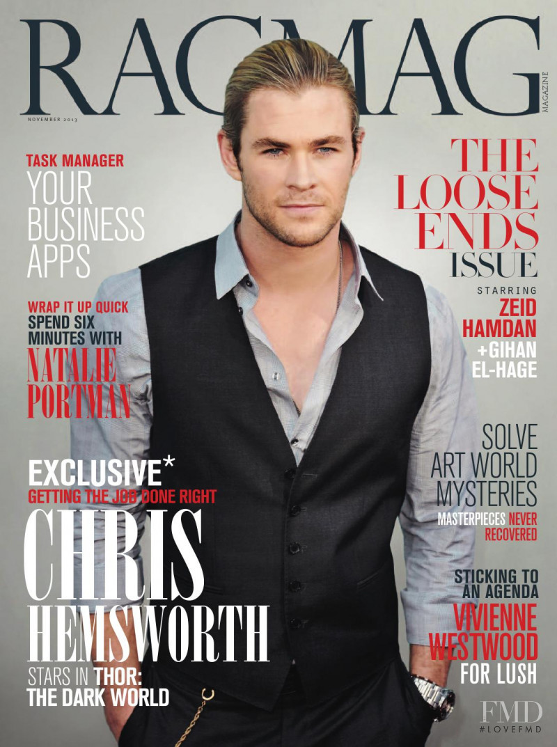 Chris Hemsworth featured on the RagMag cover from November 2013