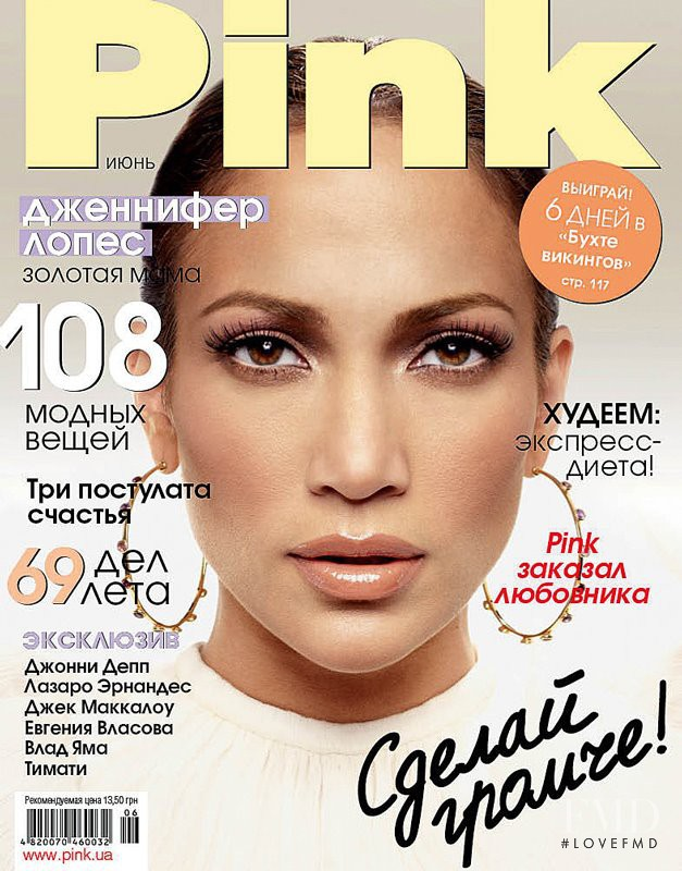 Jennifer Lopez featured on the Pink Ukraine cover from June 2012