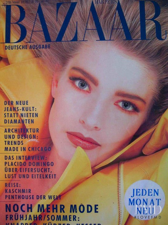 Jeanette Hallen featured on the Harper\'s Bazaar Germany cover from February 1986