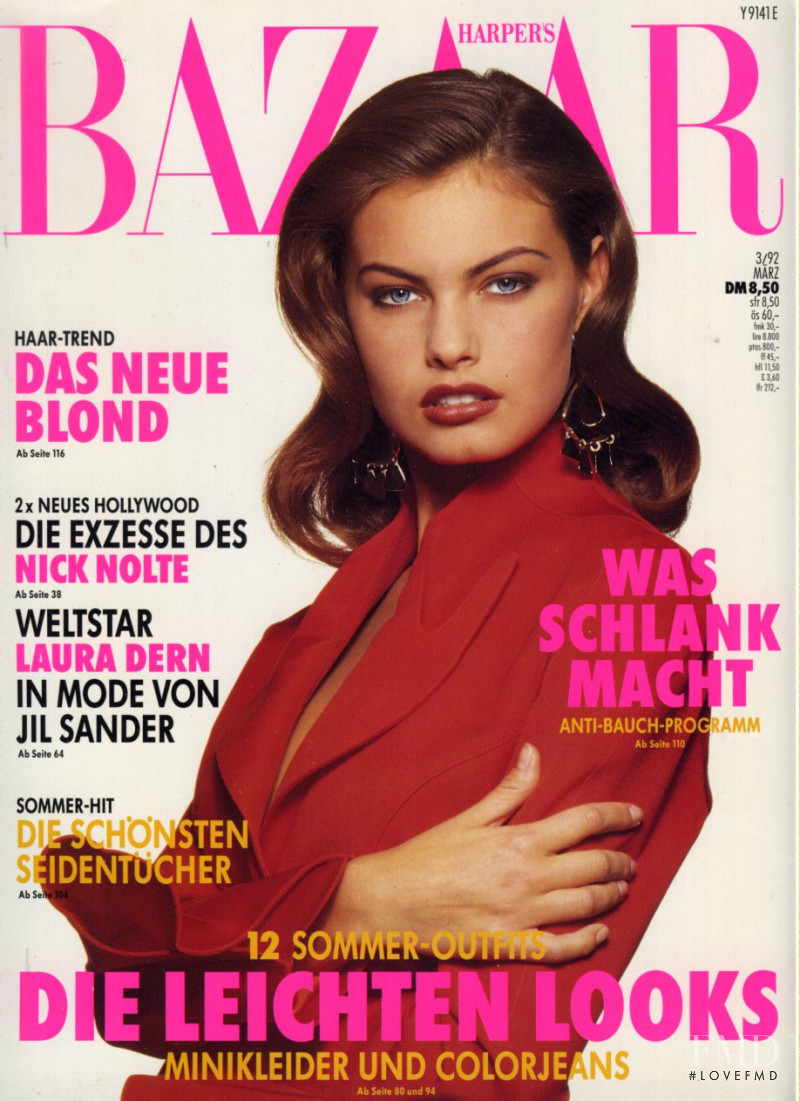 Gretha Cavazzoni featured on the Harper\'s Bazaar Germany cover from March 1992