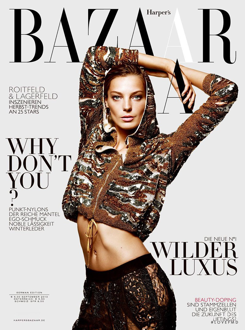 Daria Werbowy featured on the Harper\'s Bazaar Germany cover from September 2013