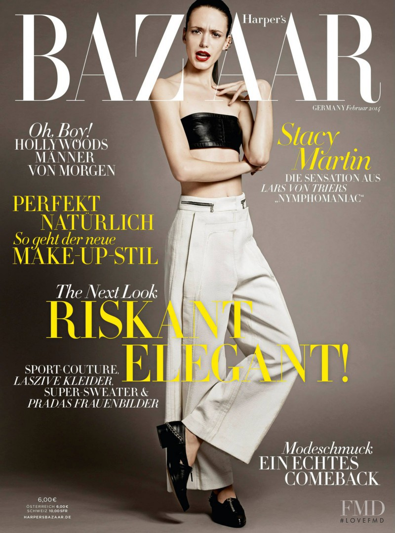 Stacy Martin featured on the Harper\'s Bazaar Germany cover from February 2014