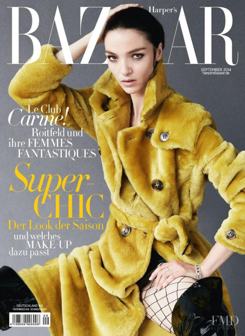 Mariacarla Boscono featured on the Harper\'s Bazaar Germany cover from September 2014