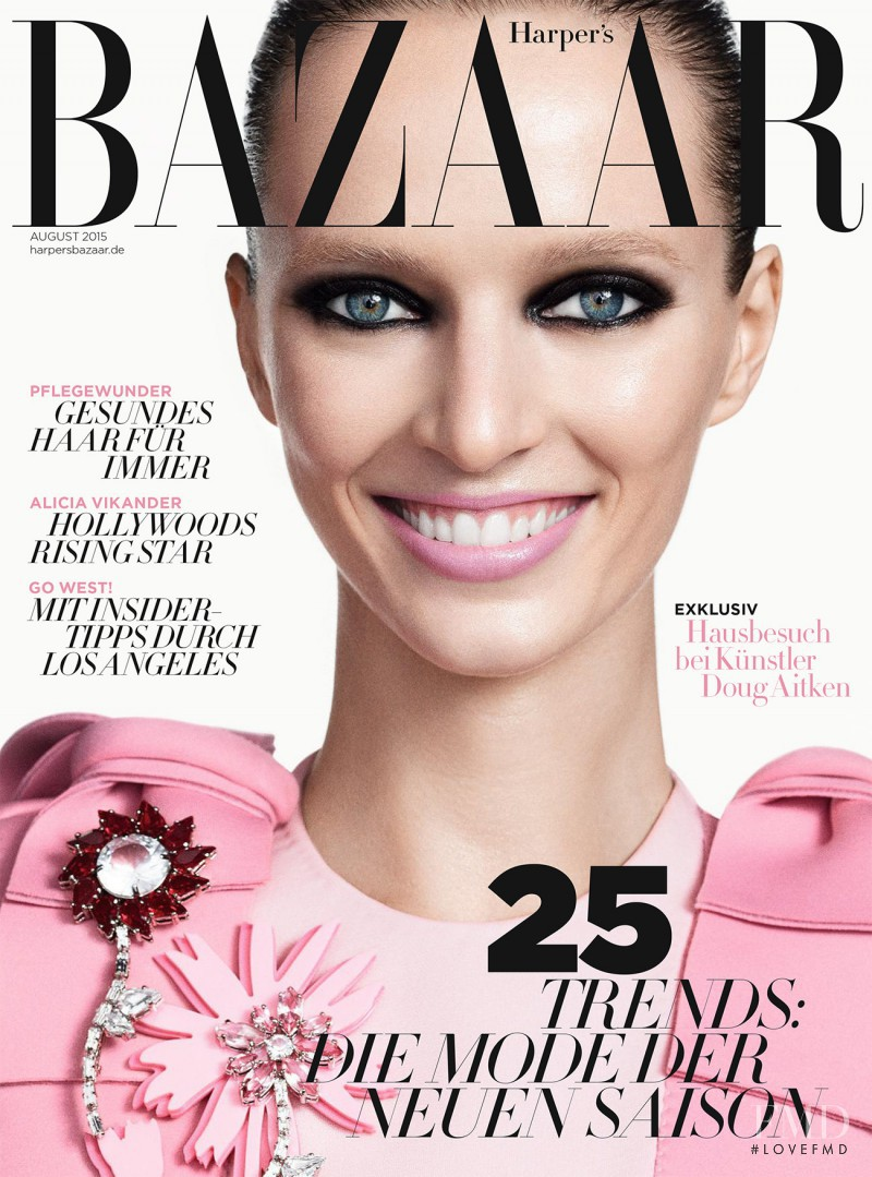 Daria Strokous featured on the Harper\'s Bazaar Germany cover from August 2015