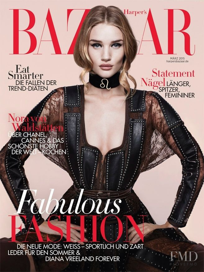 Rosie Huntington-Whiteley featured on the Harper\'s Bazaar Germany cover from March 2015