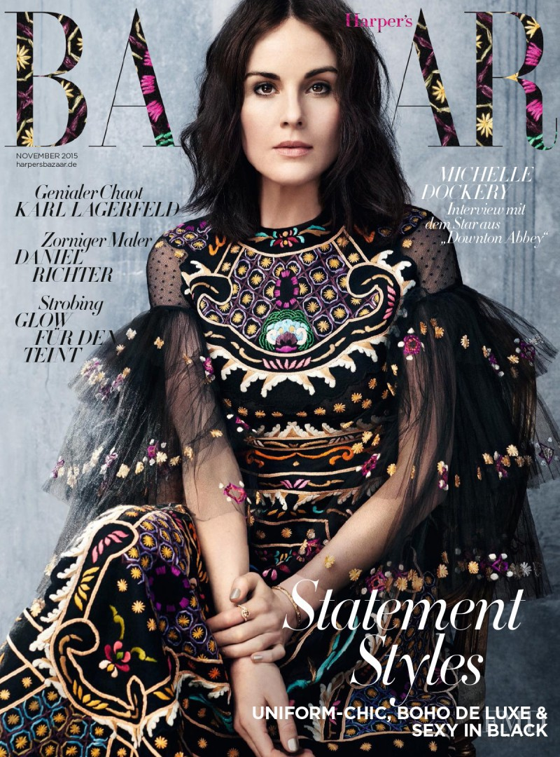 Michelle Dockery featured on the Harper\'s Bazaar Germany cover from November 2015