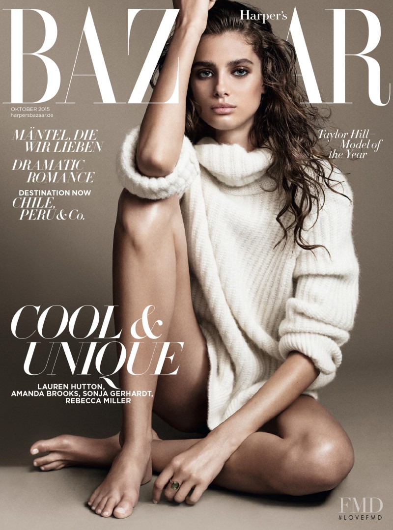 Taylor Hill featured on the Harper\'s Bazaar Germany cover from October 2015