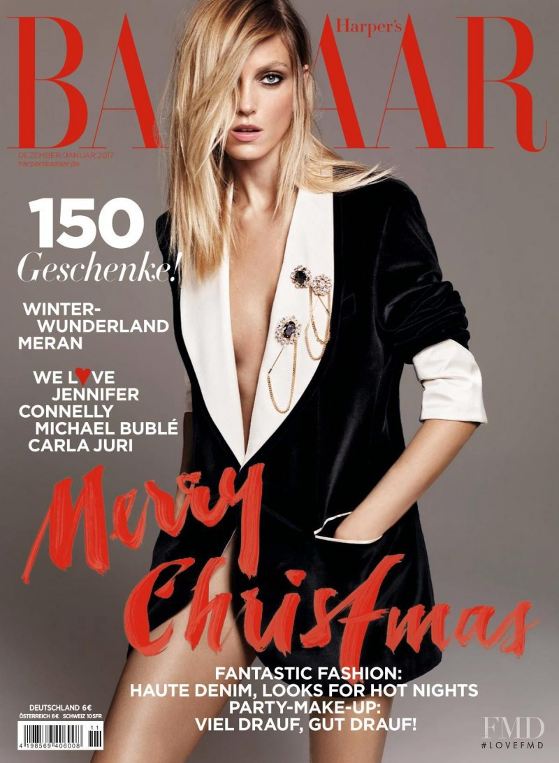 Anja Rubik featured on the Harper\'s Bazaar Germany cover from December 2016