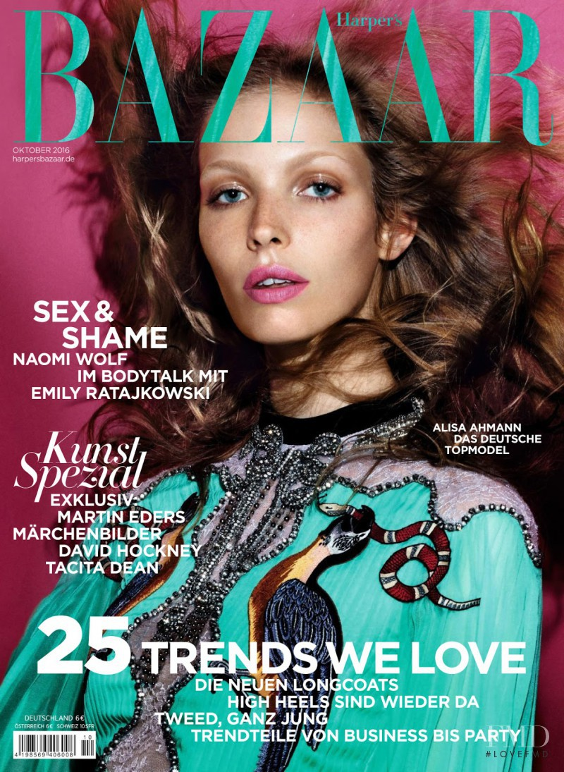 Alisa Ahmann featured on the Harper\'s Bazaar Germany cover from October 2016
