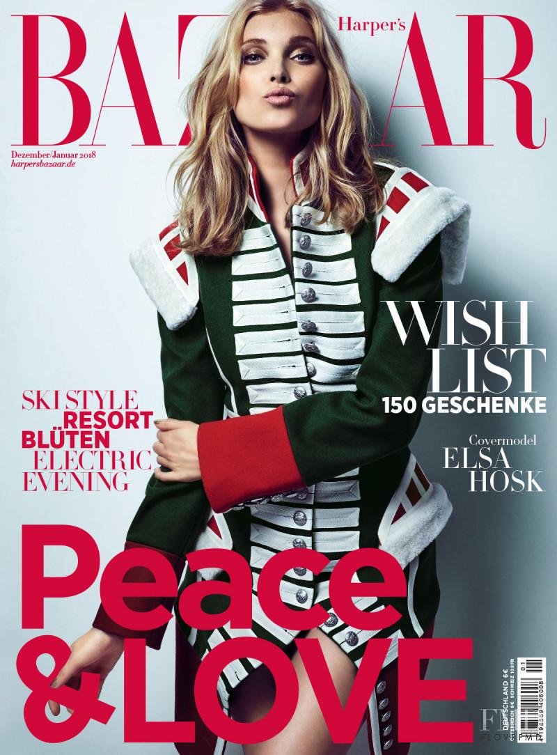 Elsa Hosk featured on the Harper\'s Bazaar Germany cover from December 2017