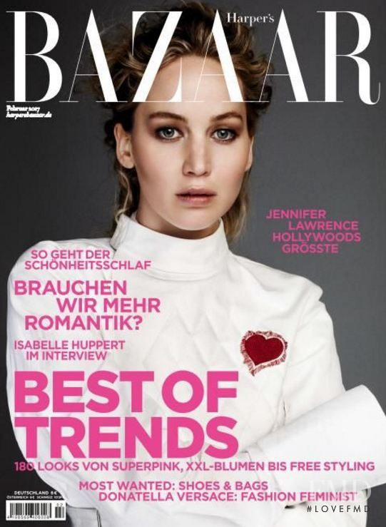 Jennifer Lawrence featured on the Harper\'s Bazaar Germany cover from February 2017