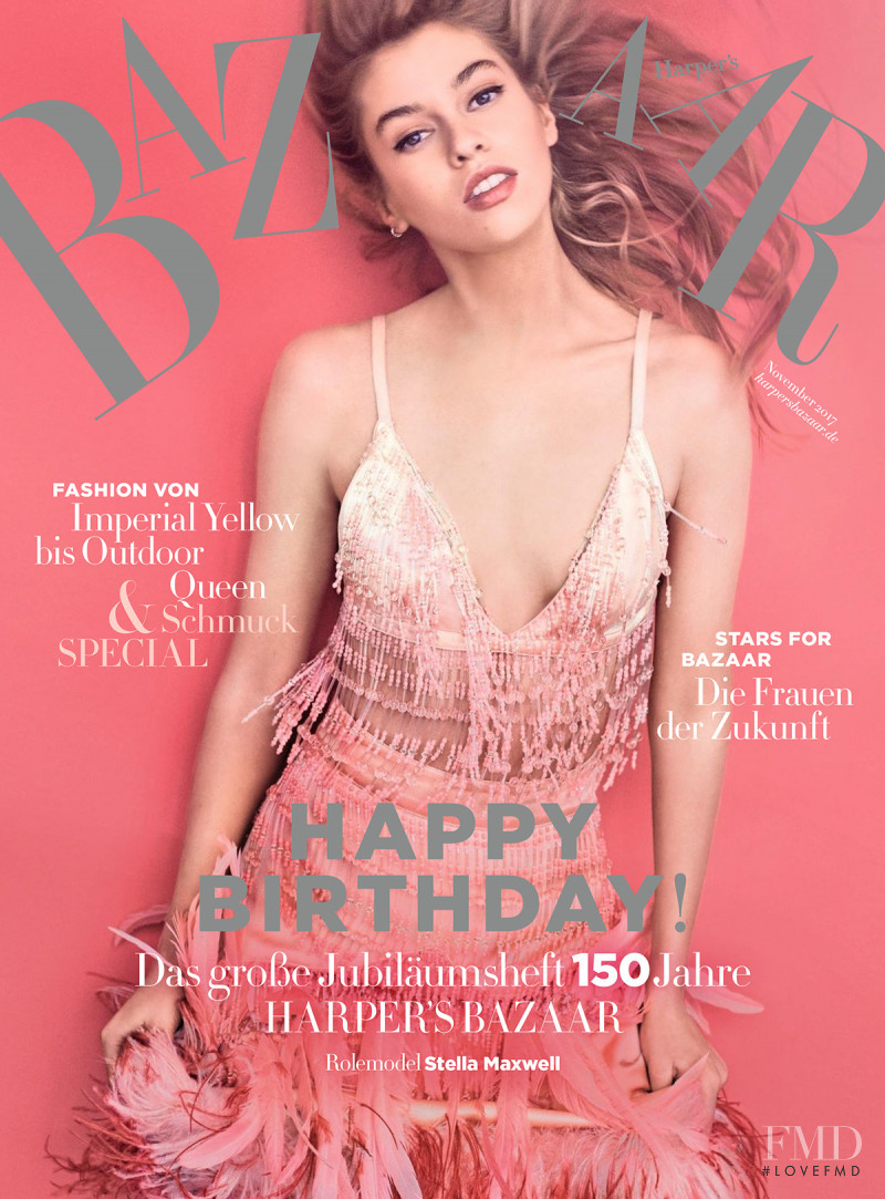 Stella Maxwell featured on the Harper\'s Bazaar Germany cover from November 2017