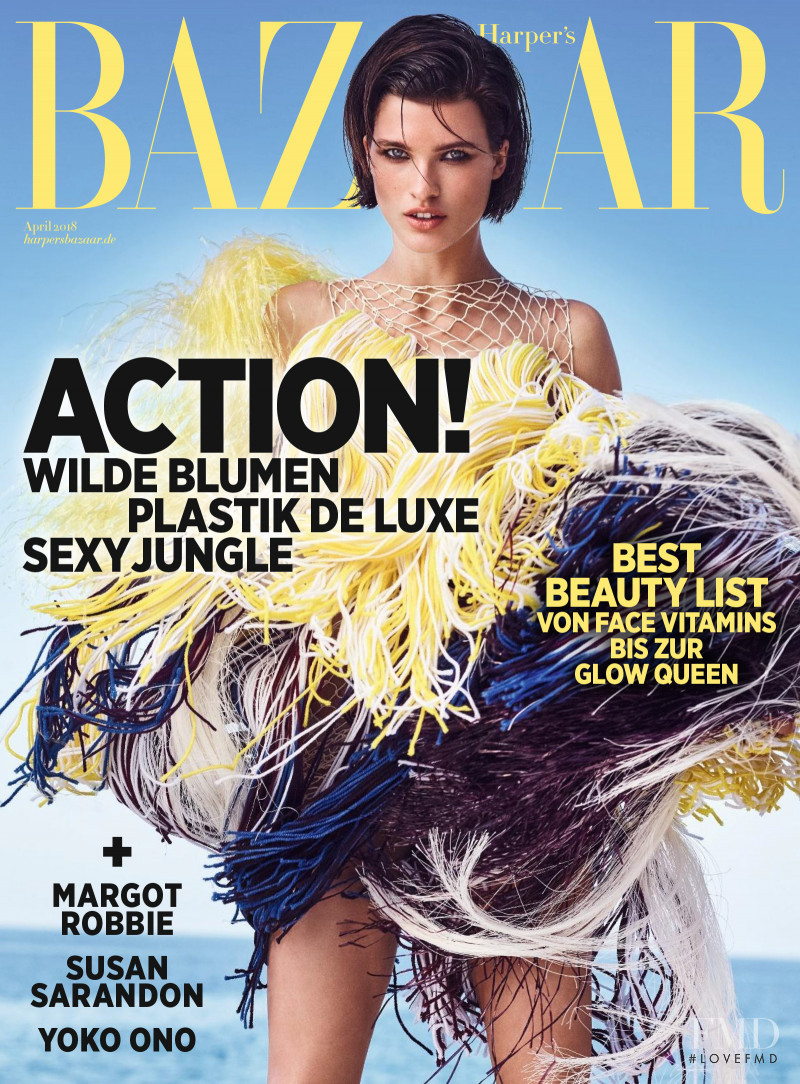 Julia van Os featured on the Harper\'s Bazaar Germany cover from April 2018