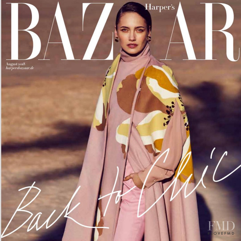 Karmen Pedaru featured on the Harper\'s Bazaar Germany cover from August 2018