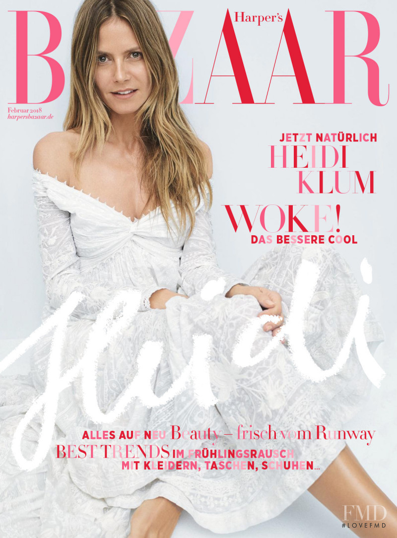 Heidi Klum featured on the Harper\'s Bazaar Germany cover from February 2018
