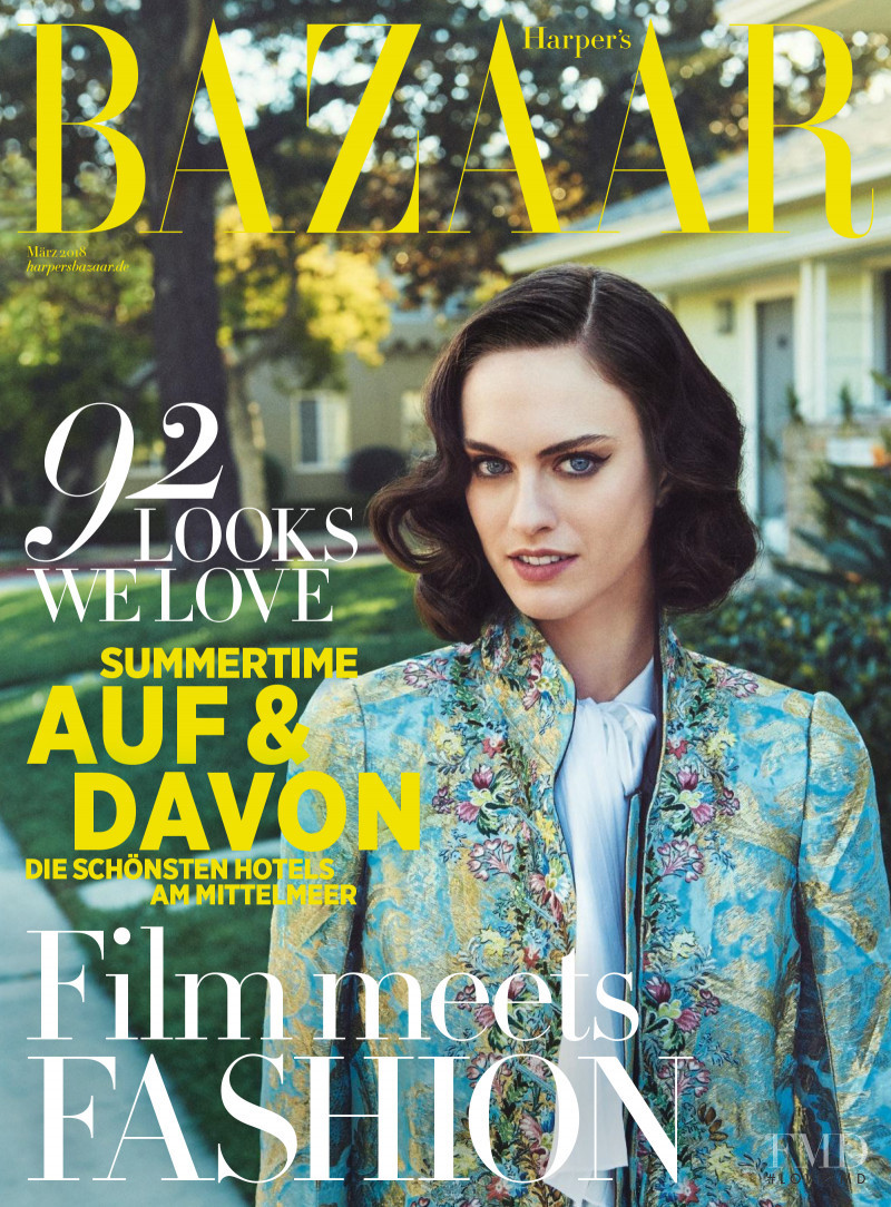 Sarah Brannon featured on the Harper\'s Bazaar Germany cover from March 2018