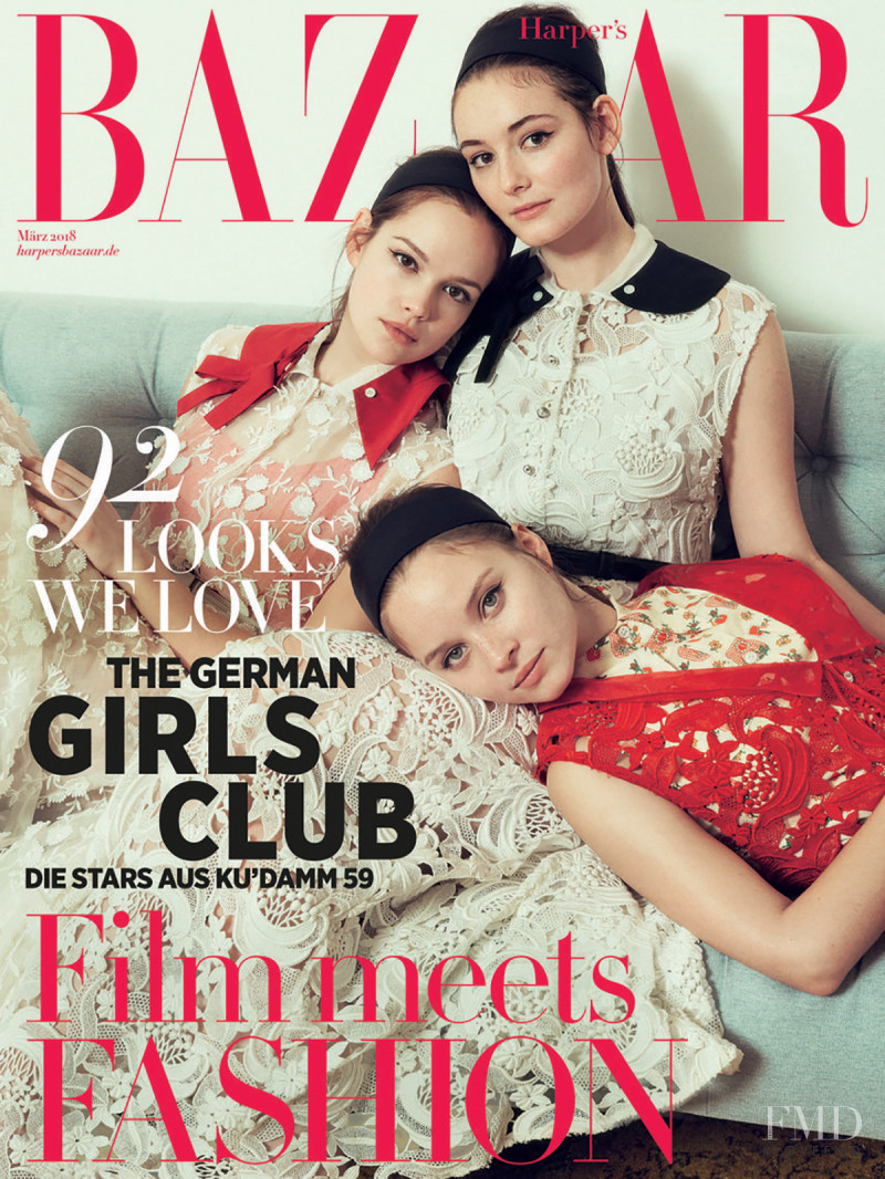 Maria Ehrich, Emilia Schu?le & Sonja Gerhardt featured on the Harper\'s Bazaar Germany cover from March 2018