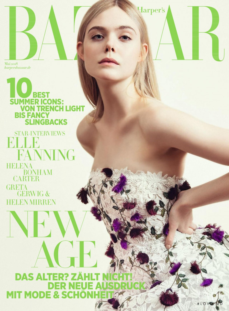 Elle Fanning featured on the Harper\'s Bazaar Germany cover from May 2018