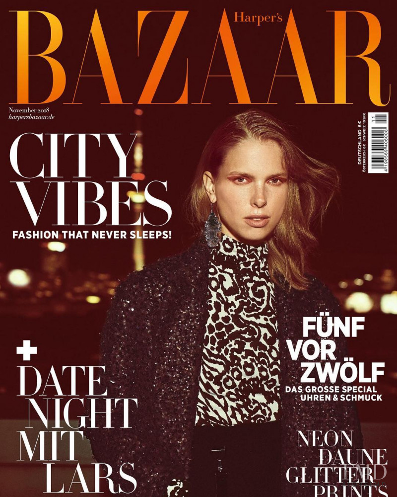 Lina Berg featured on the Harper\'s Bazaar Germany cover from November 2018