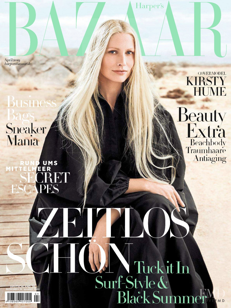 Kirsty Hume featured on the Harper\'s Bazaar Germany cover from April 2019