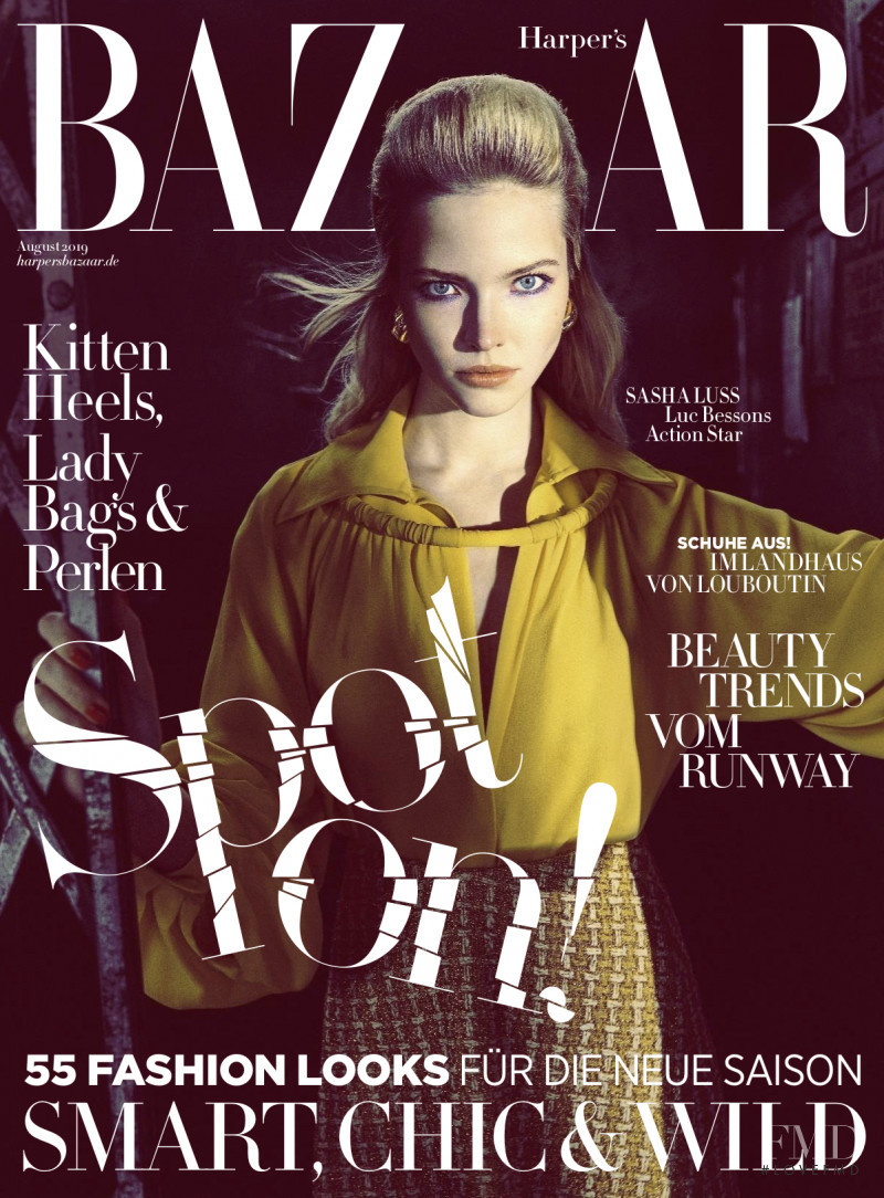 Sasha Luss featured on the Harper\'s Bazaar Germany cover from August 2019