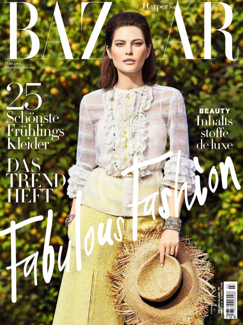 Catherine McNeil featured on the Harper\'s Bazaar Germany cover from March 2019