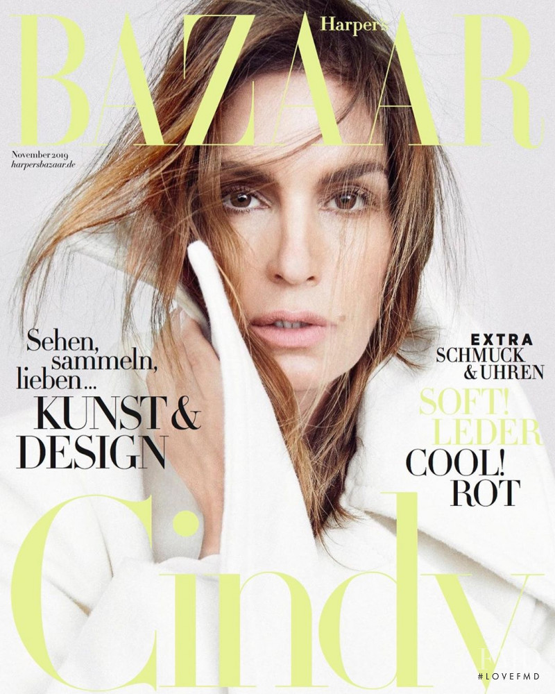 Cindy Crawford featured on the Harper\'s Bazaar Germany cover from November 2019