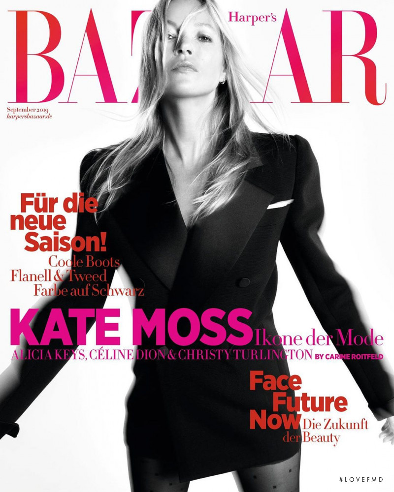 Kate Moss featured on the Harper\'s Bazaar Germany cover from September 2019