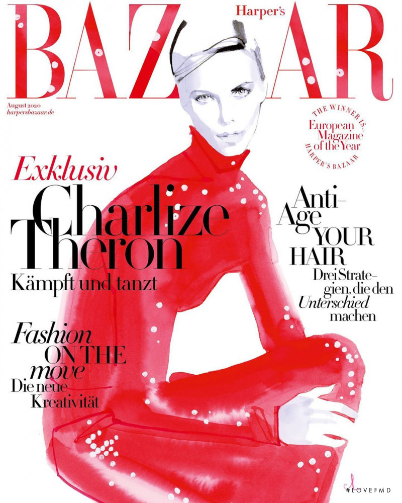 Charlize Theron  featured on the Harper\'s Bazaar Germany cover from August 2020