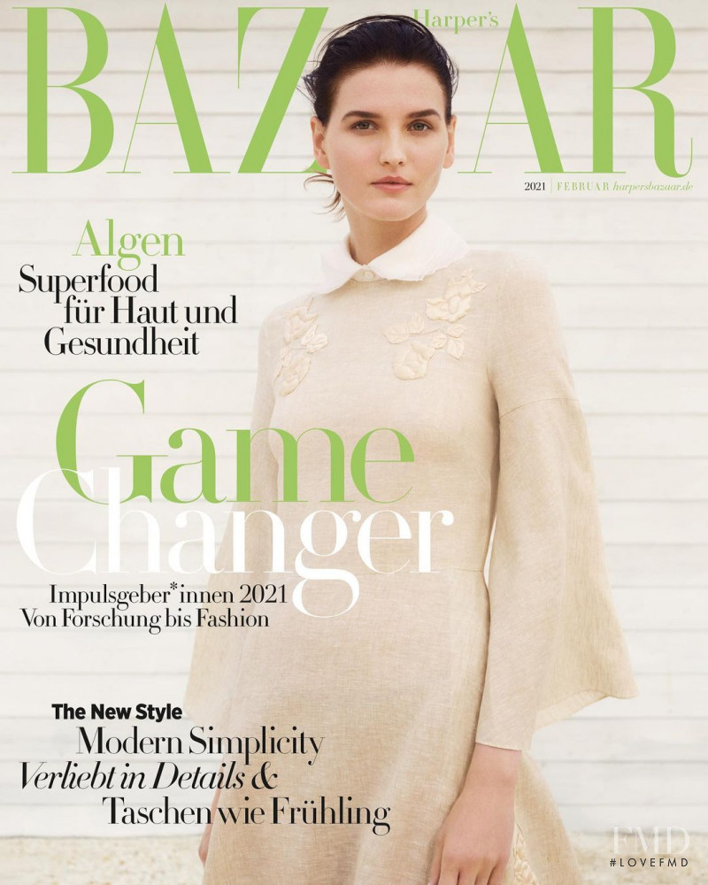 Katlin Aas featured on the Harper\'s Bazaar Germany cover from February 2021