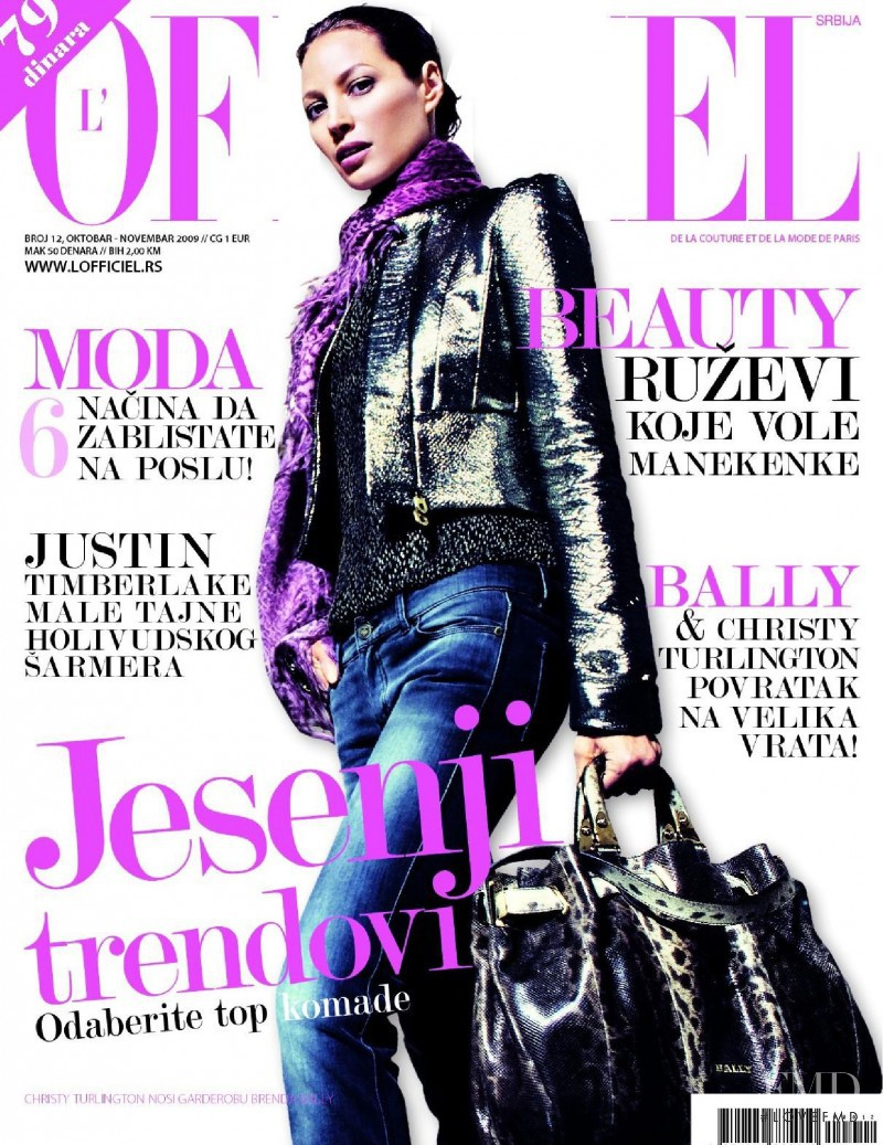 Christy Turlington featured on the L\'Officiel Serbia cover from October 2009