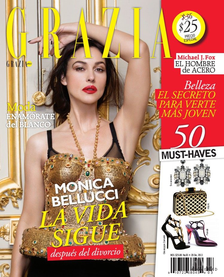 Monica Bellucci featured on the Grazia Mexico cover from December 2013