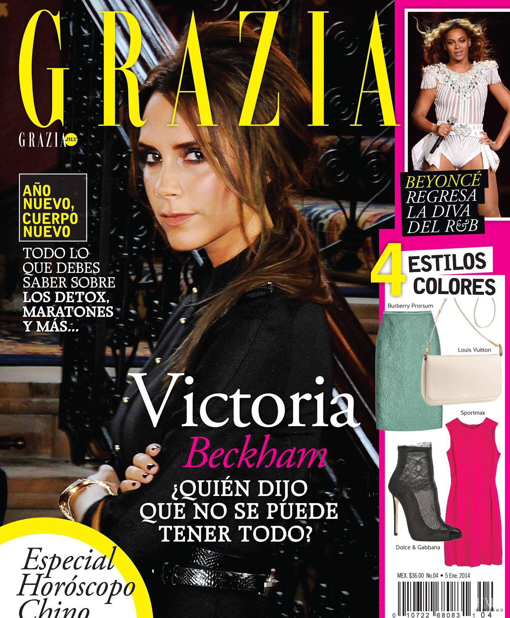 Cover of Grazia Mexico with Victoria Beckham, January 2014