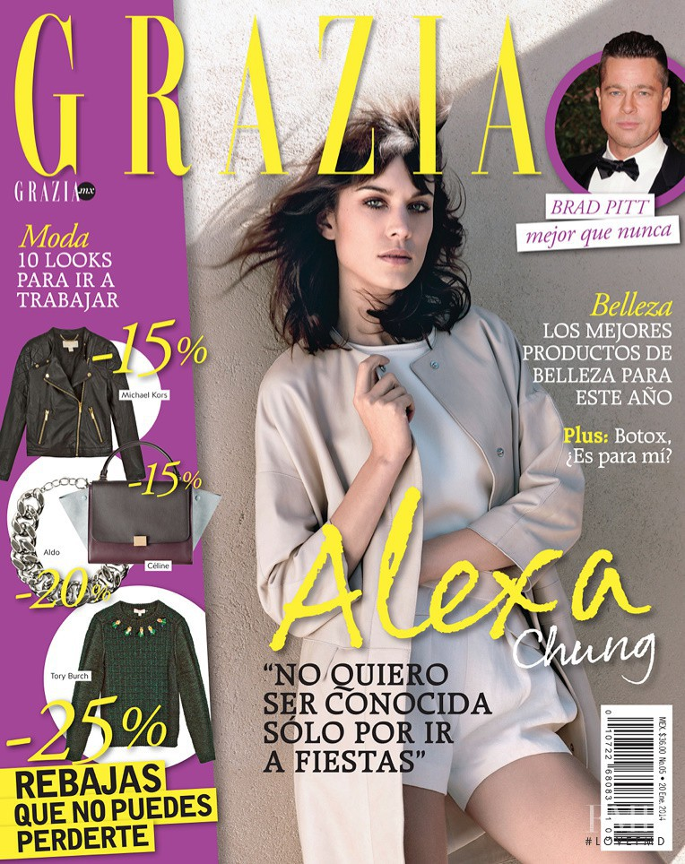 Alexa Chung featured on the Grazia Mexico cover from January 2014