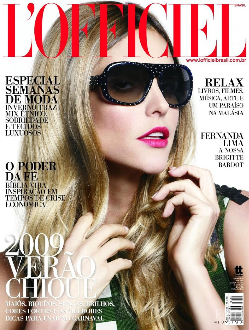 Fernanda Lima featured on the L\'Officiel Brazil cover from February 2009